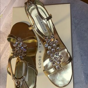 Lord and Taylor gold heels w/ crystals